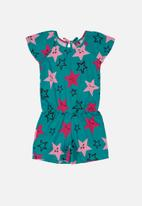 Bee Loop - Girls printed playsuit - green & pink