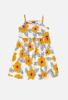 Bee Loop - Girls flower print dress - off white & yellow