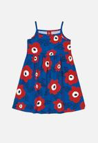 Bee Loop - Girls flower print dress - blue & red
