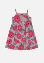 Bee Loop - Girls flower print dress - grey & pink