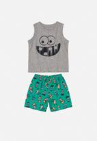 Bee Loop - Tank top & shorts set - grey & green