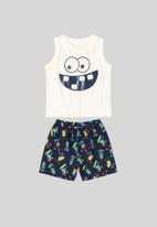 Bee Loop - Tank top & shorts set - white & navy
