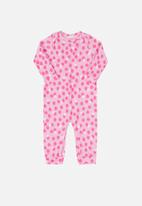 UP Baby - Girls polka dot long sleeve romper - pink