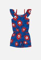 Bee Loop - Girls flower print playsuit - blue & red