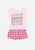 Bee Loop - Girls top & skort set - pink