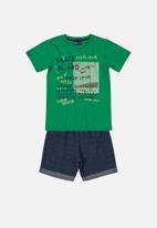 Quimby - Boys printed tee & shorts set - green