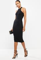 Missguided - High neck detail midi dress - black