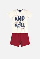 Quimby - Boys printed tee & shorts set - off white