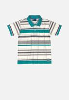 Quimby - Boys stripe golfer - green
