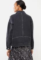 Missguided - 80's Batwing oversized denim jacket - black
