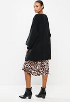 Missguided - Ribbed balloon sleeve oversized cardigan - black