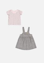 Quimby - Pinafore dress & blouse set - grey/pink