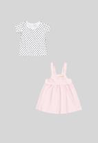 Quimby - Pinafore dress & blouse set - pink/white