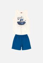 Bee Loop - Tank top & shorts set - cream & blue