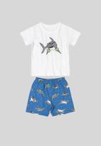 Bee Loop - T-shirt & shorts set - white & blue