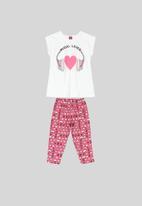 Bee Loop - Girls blouse & pants set - pink & white