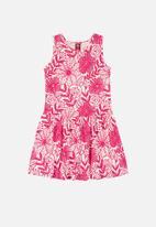 Bee Loop - Girls sleeveless floral dress - pink & white
