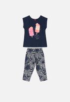 Bee Loop - Girls blouse & pants set - navy/grey/pink
