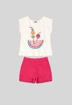 Bee Loop - Tee & skort set - pink & white