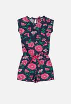 Bee Loop - Girls floral romper - navy & pink