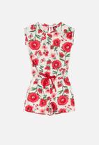 Bee Loop - Girls floral romper - white & red