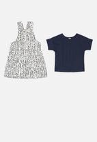 UP Baby - Girls printed pinafore & blouse set - navy & white