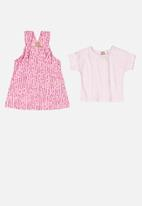UP Baby - Girls printed pinafore & blouse set - pink & white