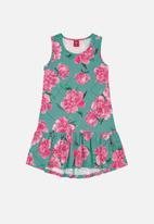 Bee Loop - Girls sleeveless floral dress - blue & pink