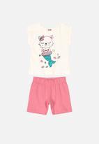 Bee Loop - Blouse & shorts set - pink & white