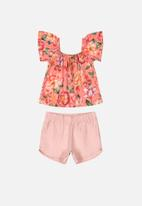 UP Baby - Girls floral blouse & shorts set - multi