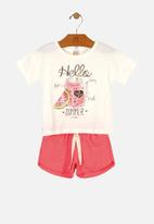 UP Baby - Girls tee & woven shorts set - off white & pink