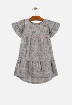 UP Baby - Girls heart print dress - grey