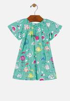 UP Baby - Girls printed dress - green