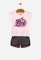 UP Baby - Girls tee & sweat shorts set - pink & black