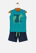 UP Baby - Boys tank top & shorts set - green & blue