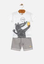 UP Baby - Boys tee & sweat shorts set - white & grey
