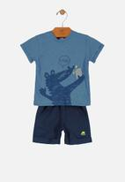 UP Baby - Boys tee & sweat shorts set - blue