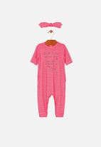 UP Baby - Girls romper & hairband set - pink