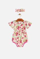 UP Baby - Woven romper & hairband set - purple & green
