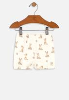 UP Baby - Girls printed shorts - off white & brown