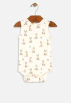 UP Baby - Girls cotton bodysuit - off white & brown