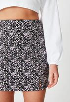 Factorie - Double split mini skirt - zara purple ditsy
