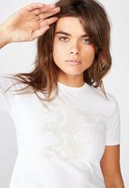 Factorie - Fitted graphic T-shirt hawk snake - white