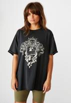 Factorie - Oversized graphic tee no love lost - washed black