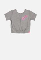 Quimby - Heart print blouse - grey