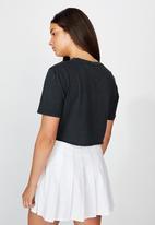 Factorie - Short sleeve raw edge crop T-shirt heartbreak hotel - washed black