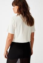 Factorie - Short sleeve raw edge crop T-shirt outsiders - washed ivory