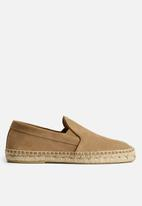 MANGO - Shoes slip on suede leather - light pastel brown