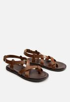 MANGO - Sandals roma bovian leather - medium brown