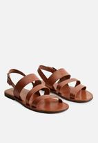 MANGO - Javea bovine leather sandals - medium brown